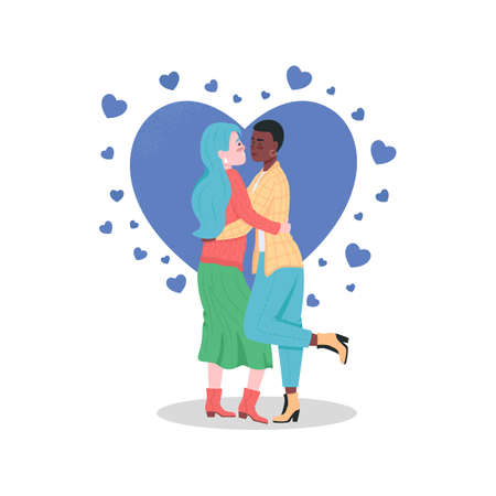 Happy lesbian couple flat color vector detailed characters. Women hugging. Gay partners in love. Valentines day celebration isolated cartoon illustration for web graphic design and animation