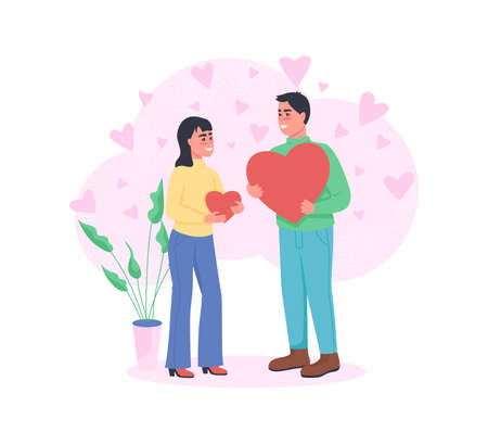 Man and woman in love flat color vector detailed characters. Express affection with hearts. Valentines day celebration isolated cartoon illustration for web graphic design and animation