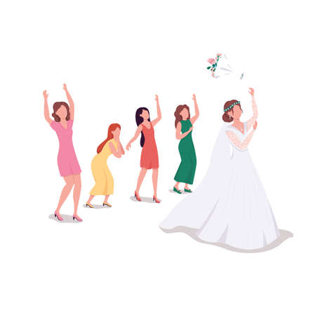 Bride throwing bouquet flat color vector faceless character. Bridesmaids cath flowers. Custom tradition. Wedding ceremony isolated cartoon illustration for web graphic design and animation 矢量图像