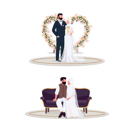 Muslim couple on wedding day flat color vector faceless character set. Floral decoration. Newlywed in photo spot. Marriage isolated cartoon illustration for web graphic design and animation collection