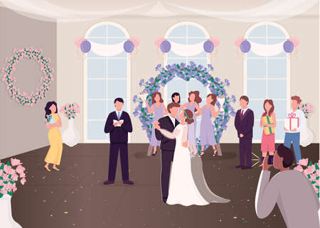 Wedding ceremony celebration flat color vector illustration. Newly married couple with guests. Bride and groom dancing first time 2D cartoon characters with decorated banquet hall on background