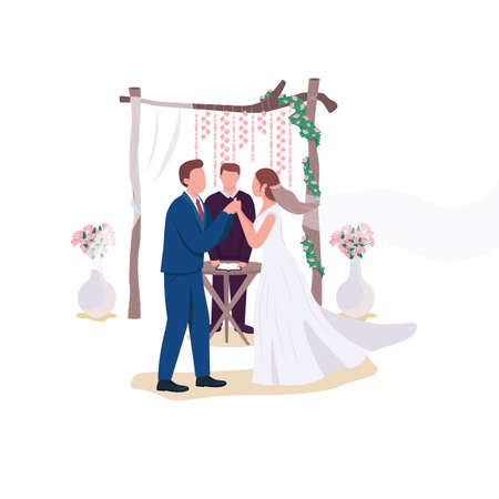 Wedding ceremony flat color vector faceless characters. Bride and groom marrying. Priest give blessing. Engagement isolated cartoon illustration for web graphic design and animation 矢量图像