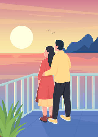 Couple watching romantic sunset flat color vector illustration. Man hug woman from behind. Dating, spending time together. Boyfriend and girlfriend 2D cartoon characters with landscape on background