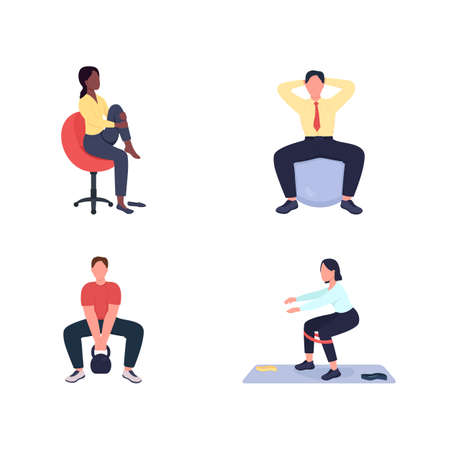 Working out female and male employees flat color vector faceless character set. Exercise at workstation isolated cartoon illustration for web graphic design and animation collection