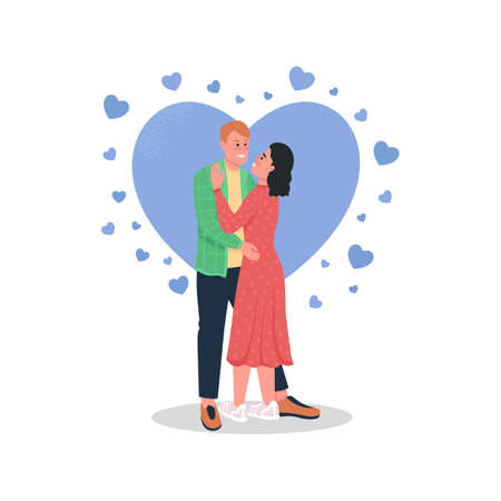 Happy man and woman in love flat color vector detailed characters. Smiling couple hugging. Celebrating valentine's day isolated cartoon illustration for web graphic design and animation