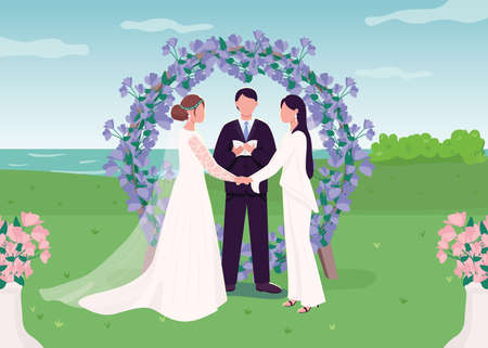 Wedding ceremony for lesbian couple flat color vector illustration. Romantic engagement. Happy women in love. Wifes holding hands 2D cartoon characters with landscape on background 矢量图像