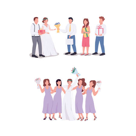 Bride and groom with guests flat color vector faceless character set. Husband, wife accept gifts. Wedding ceremony isolated cartoon illustration for web graphic design and animation collection