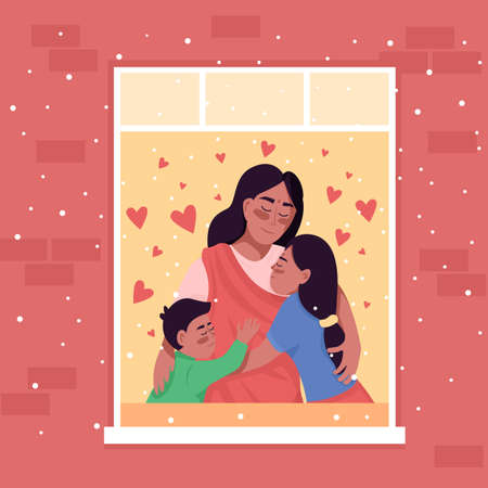 Happy indian family in home window flat color vector illustration. Spending winter holiday together with kids, mother. Mother, daughter and son 2D cartoon characters with apartment on background