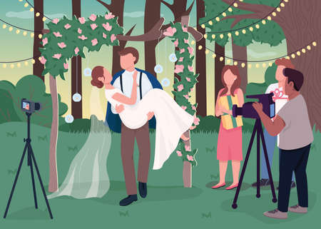 Wedding ceremony recording flat color vector illustration. Rustic ceremony. Rural, boho style romantic event. Happy groom holding bride 2D cartoon characters with landscape on background