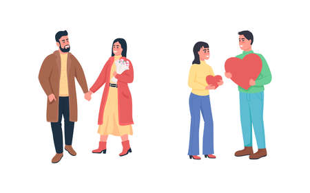 Happy couples in love flat color vector detailed character set. Dating and flirting. Valentine day celebration isolated cartoon illustration for web graphic design and animation collection 矢量图像