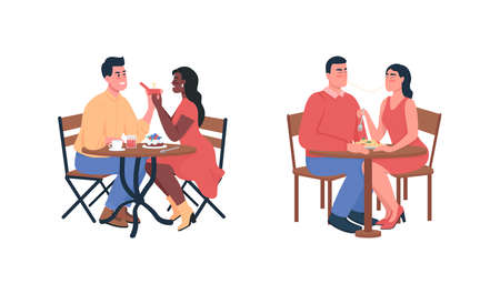 Couple during romantic dinner flat color vector detailed characters set. Dating partners. Valentine day celebration isolated cartoon illustration for web graphic design and animation collection