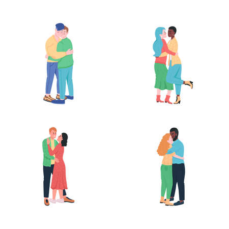 Happy hugging couples flat color vector detailed characters set. Gay men in love. Smiling women. Valentines day isolated cartoon illustration for web graphic design and animation collection
