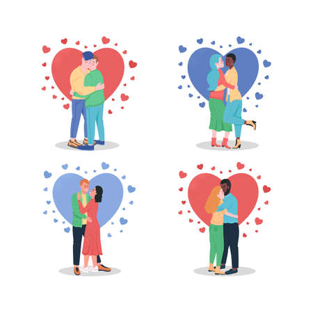 Hugging couples in love flat color vector detailed character set. Gay lovers. Happy boyfriend, girlfriend. Valentine day isolated cartoon illustration for web graphic design and animation collection