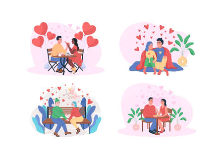 Valentine day 2D vector web banner, poster set. Romantic dinner. Boyfriend and girlfriend. Dating flat characters on cartoon background. Happy couple printable patch, colorful web element collection 矢量图像