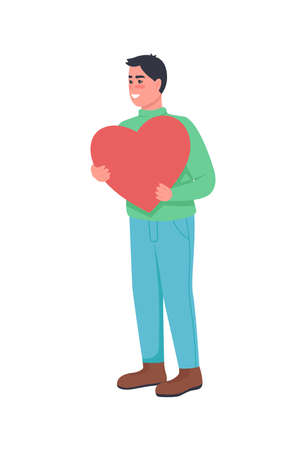 Man in love with heart flat color vector detailed character. Expressing affection. Romantic feeling. Valentines day celebration isolated cartoon illustration for web graphic design and animation