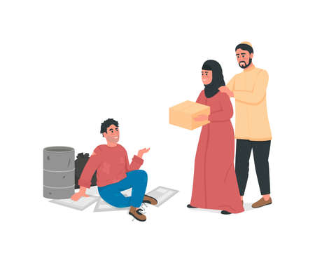 Arabian couple help homeless man flat color vector faceless character. Islam family give poor guy food. Social support isolated cartoon illustration for web graphic design and animation