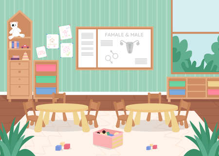 Preschool biology class flat color vector illustration. Lesson on anatomy for kindergarten children. Desk, chair for kids. Primary grade classroom 2D cartoon interior with board on wall on background