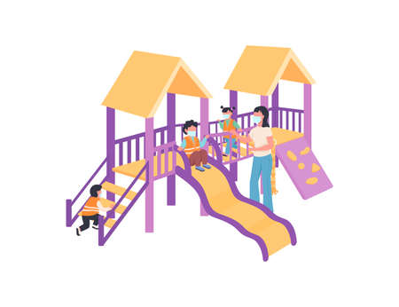 Children and babysitter in medical mask on playground flat color vector faceless characters. Covid precaution and health safety isolated cartoon illustration for web graphic design and animation  イラスト・ベクター素材
