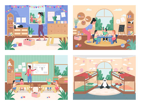 Kindergarten daily routine flat color vector illustration set. Elementary, primary school class. Teachers with children 2D cartoon characters with preschool interior on background collection  イラスト・ベクター素材