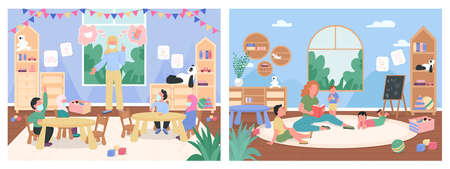 Kindergarten lessons flat color vector illustration set. New normal in school. Caucasian, muslim teachers and children 2D cartoon characters with preschool classroom on background collection