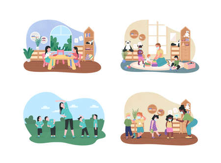 Kindergarten lessons 2D vector web banner, poster set. Preschool teachers and pupils flat characters on cartoon background. Elementary class printable patch, colorful web element collection  イラスト・ベクター素材