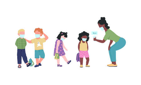Preschool teacher check kids temperature during pandemic flat color vector faceless characters.