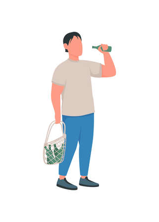 Alcoholic flat color vector faceless character. Man with bottles. Unhealthy lifestyle. Bad habit. Substance abuse. Alcoholism isolated cartoon illustration for web graphic design and animation