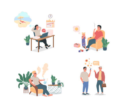 People with unhealthy lifestyle flat color vector detailed character set. Procrastination, smoking. Bad habits isolated cartoon illustration for web graphic design and animation collection Vector Illustratie