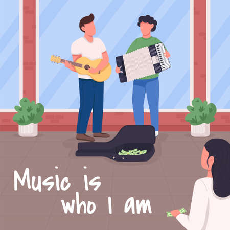 Music is who i am social media post mockup. Melody phrase. Web banner design template. Traditional culture booster, content layout with inscription. Poster, print ads and flat illustration