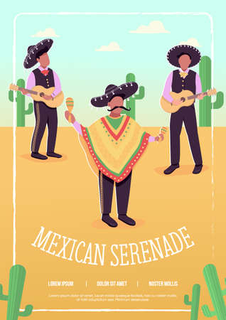 Mexican serenade flat vector template. Traditional latinos songs. Brochure, booklet one page concept design with cartoon characters. Fast rhytmical songs with national instruments flyer, leaflet