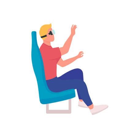 Using virtual reality devices flat color vector faceless character. Visiting modern cinema. Visiting space using modern technologies isolated cartoon illustration for web graphic design and animation