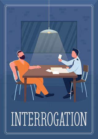 Interrogation poster flat vector template. Interviewing with goal of eliciting information. Brochure, booklet one page concept design with cartoon characters. Police investigation flyer, leaflet
