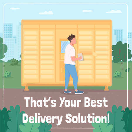 Lock down delivery social media post mock up. That your best delivery solution phrase. Web banner design template.
