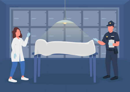 Morgue flat color vector illustration. Investigation about crime sequences. Police medical expert and officer try to find evidence 2D cartoon characters with refrigerator on background Illustration