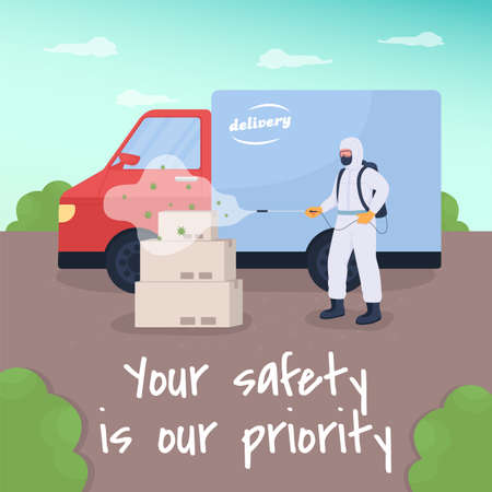 Safe delivery social media post mockup. Your safety is our priority phrase. Web banner design template. Pandemic booster, content layout with inscription. Poster, print ads and flat illustration Illustration