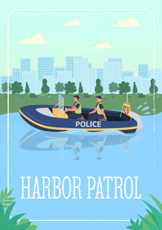 Harbor patrol poster flat vector template. Police officers who patrol in water craft. Brochure, booklet one page concept design with cartoon characters. Protecting people from criminals flyer, leaflet