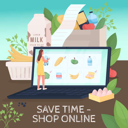 Safe shopping social media post mockup. Save time shop online phrase. Web banner design template. Pandemic booster, content layout with inscription. Poster, print ads and flat illustration Illustration