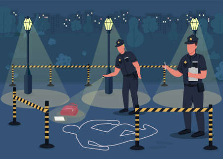 Crime investigation flat color vector illustration. Searching for crime evidence. Police officers investigating place of person death 2D cartoon characters with empty city park on background