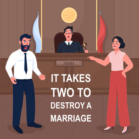 Court social media post mockup. It takes two to destroy marriage phrase. Web banner design template. Justice booster, content layout with inscription. Poster, print ads and flat illustration