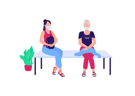 Patients in medical masks sitting on bench flat color vector faceless characters. Waiting for hospital appointment isolated cartoon illustration for web graphic design and animation Illustration