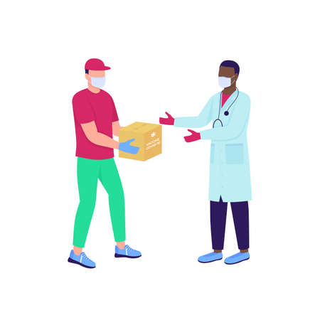 Delivery man giving vaccine package to doctor flat color vector faceless characters. Hospital supply. Pharmacy delivery isolated cartoon illustration for web graphic design and animation