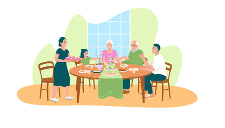 Traditional easter dinner 2D vector web banner, poster. Generations of family together around table flat characters on cartoon background. Spring holiday printable patch, colorful web element