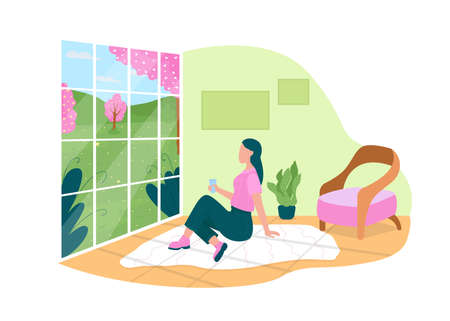 Watching spring flowers through home window 2D vector web banner, poster. Woman sitting in living room flat character on cartoon background. Springtime printable patch, colorful web element Illustration