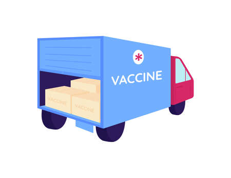 Vaccine packages in delivery truck flat color vector object. Transportation of medical supply. Medication shipping. Drug shipment isolated cartoon illustration for web graphic design and animation