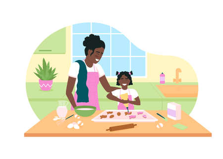 Happy african american mother and daughter bake cookies 2D vector web banner, poster. Family flat characters on cartoon background. Easter preparation printable patch, colorful web element Illustration