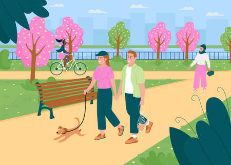 People walk in springtime park flat color vector illustration. Spring season in public city garden. Outdoors recreation. Healthy lifestyle. Happy 2D cartoon characters with cityscape on background