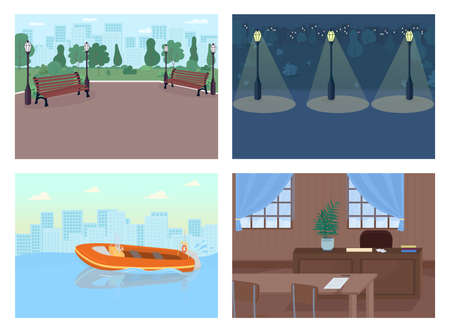 Crime places flat color vector illustration set. Helping people to stay away from dangerous situations. Justice and law facilities 2D cartoon cityscape with big city buildings on background
