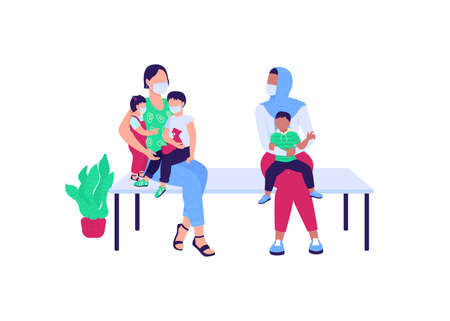 Women with children waiting in hospital flat color vector faceless characters. Line to pediatrics. Queue for clinic appointment isolated cartoon illustration for web graphic design and animation