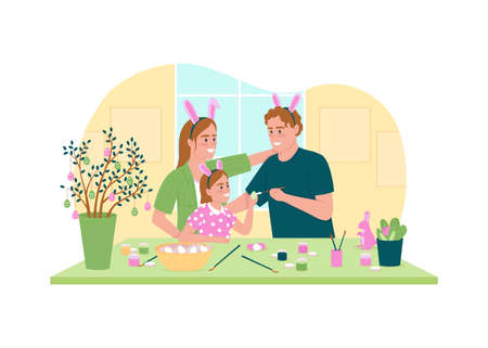 Painting easter eggs 2D vector web banner, poster. Smiling mother, father, daughter flat characters on cartoon background. Spring seasonal holiday printable patch, colorful web element Illustration