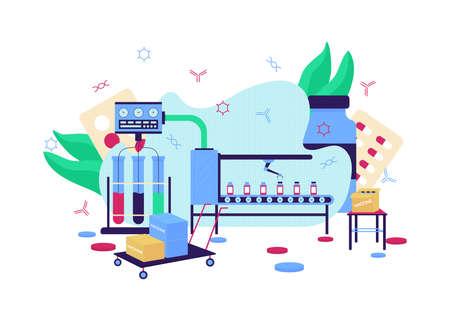 Vaccine development flat concept vector illustration. Medical research. Factory manufacture. Pharmaceutical laboratory 2D cartoon scene for web design. Drug production creative idea